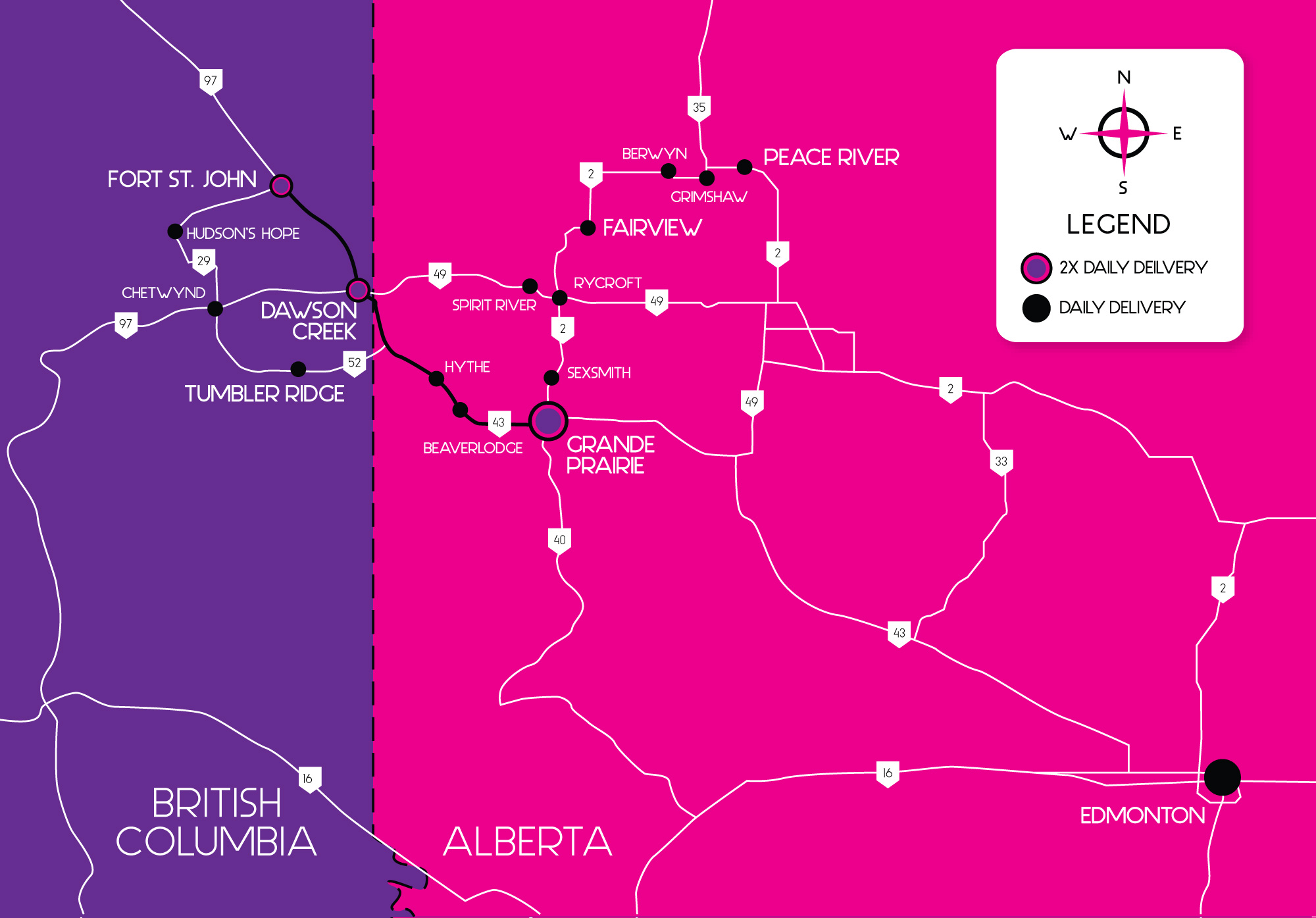 RCT Delivery Grande Prairie and Peace Country Service Area Map